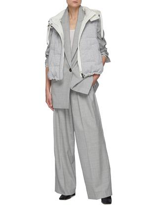 模特儿示范图 - 点击放大 - BRUNELLO CUCINELLI - 松紧裤腰褶裥初剪羊毛长裤