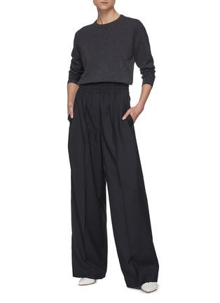 模特儿示范图 - 点击放大 - BRUNELLO CUCINELLI - 褶裥松紧裤腰阔腿裤