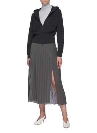 模特儿示范图 - 点击放大 - BRUNELLO CUCINELLI - 开衩百褶半裙