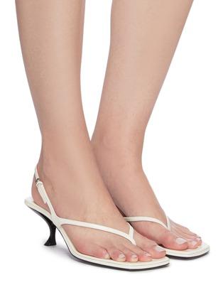 模特儿示范图 - 点击放大 - THE ROW - 搭带真皮夹脚高跟凉鞋