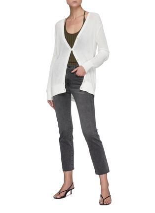 模特儿示范图 - 点击放大 - FRAME DENIM - LE HIGH STRAIGHT拼色口袋牛仔裤