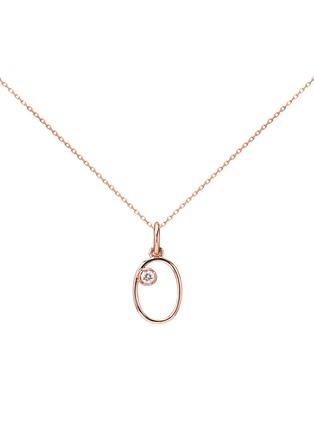 首图 - 点击放大 - AS29 - Miami钻石14k玫瑰金数字0造型吊坠项链