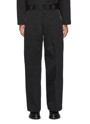 首图 - 点击放大 - TOGA VIRILIS - logo拼贴铆钉饰边褶间阔腿裤