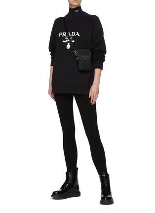 模特儿示范图 - 点击放大 - PRADA - 高腰修身混初剪羊毛长裤