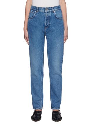 首图 - 点击放大 - LOEWE - 真皮拼贴水洗纯棉锥形牛仔裤