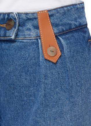 - LOEWE - 品牌名称真皮拼贴水洗纯棉牛仔短裤
