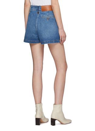 背面 - 点击放大 - LOEWE - 品牌名称真皮拼贴水洗纯棉牛仔短裤