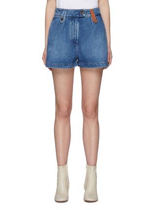 首图 - 点击放大 - LOEWE - 品牌名称真皮拼贴水洗纯棉牛仔短裤