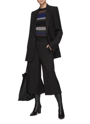 模特儿示范图 - 点击放大 - PETAR PETROV - GENEVA混丝阔腿露踝裤