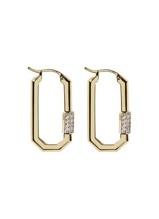 首图 - 点击放大 - AS29 - Lock钻石点缀18k黄金几何造型耳环