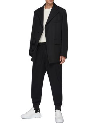 模特儿示范图 - 点击放大 - WOOYOUNGMI - 抽绳裤腰羊毛束脚裤