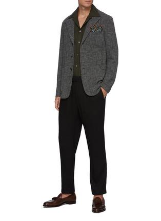 模特儿示范图 - 点击放大 - BARENA - Torceo混初剪羊毛针织西服外套