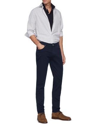 模特儿示范图 - 点击放大 - BRUNELLO CUCINELLI - 真皮拼贴修身棉质牛仔裤