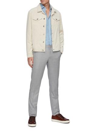 模特儿示范图 - 点击放大 - BRUNELLO CUCINELLI - 水洗纯棉牛仔衬衫