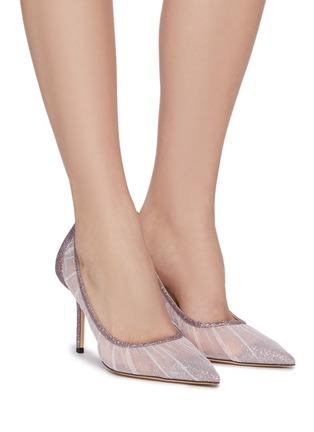 模特儿示范图 - 点击放大 - JIMMY CHOO - LOVE 85闪粉点缀网眼高跟鞋