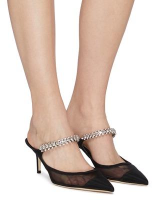 模特儿示范图 - 点击放大 - JIMMY CHOO - BING 65仿水晶缀饰网面穆勒鞋