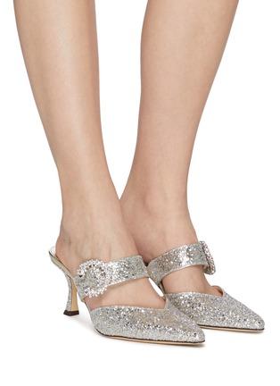 模特儿示范图 - 点击放大 - JIMMY CHOO - MARTA 60闪粉点缀搭带穆勒鞋
