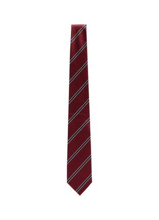 模特儿示范图 - 点击放大 - STEFANOBIGI MILANO - SENNA拼色条纹真丝领带