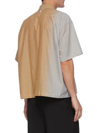 背面 - 点击放大 - KARMUEL YOUNG - 渐变拼色格子纯棉短袖衬衫