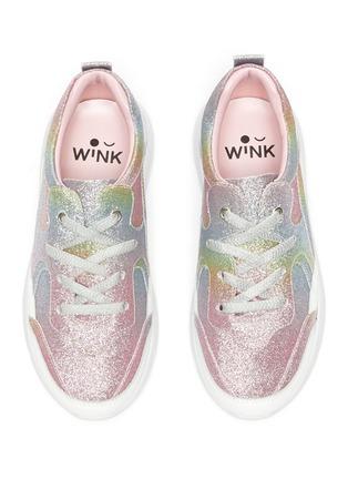 模特儿示范图 - 点击放大 - WiNK - BAGEL儿童款闪粉表层真皮厚底运动鞋