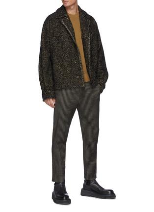 模特儿示范图 - 点击放大 - UMA WANG - 拼色毛边衬衫式夹克