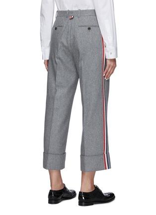 背面 - 点击放大 - THOM BROWNE - 侧条纹混羊毛长裤