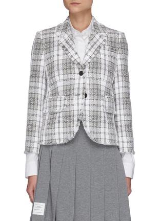 首图 - 点击放大 - THOM BROWNE - 毛边格纹粗花呢单排扣西服外套