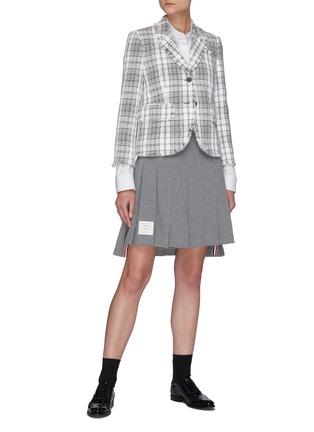模特儿示范图 - 点击放大 - THOM BROWNE - 毛边格纹粗花呢单排扣西服外套