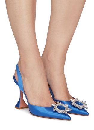模特儿示范图 - 点击放大 - AMINA MUADDI - BEGUM仿水晶点缀缎面高跟鞋