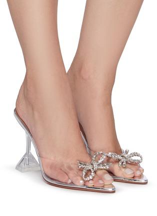 模特儿示范图 - 点击放大 - AMINA MUADDI - ROSIE仿水晶点缀几何鞋跟PVC高跟鞋
