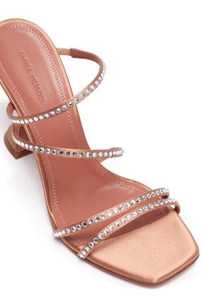 细节 - 点击放大 - AMINA MUADDI - NAMIA仿水晶点缀搭带几何鞋跟凉鞋