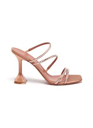 首图 - 点击放大 - AMINA MUADDI - NAMIA仿水晶点缀搭带几何鞋跟凉鞋