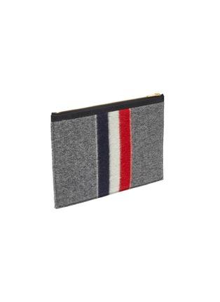 细节 - 点击放大 - THOM BROWNE - 三色条纹羊毛手拿包