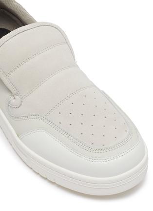 细节 - 点击放大 - ACNE STUDIOS - BULLER品牌名称拼接绒面真皮便鞋