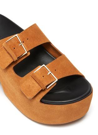 细节 - 点击放大 - CLERGERIE - ESME双搭带绒面真皮厚底拖鞋
