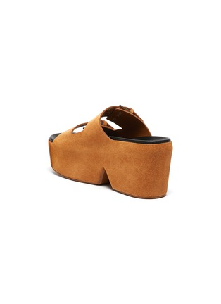 - CLERGERIE - ESME双搭带绒面真皮厚底拖鞋