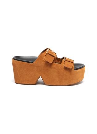 首图 - 点击放大 - CLERGERIE - ESME双搭带绒面真皮厚底拖鞋