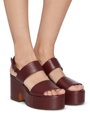 模特儿示范图 - 点击放大 - CLERGERIE - CORA双搭带真皮高跟鞋