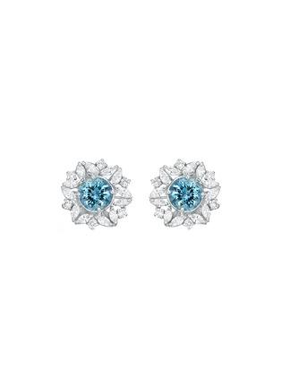 细节 - 点击放大 - SARAH ZHUANG - 钻石点缀18k白金几何造型耳环
