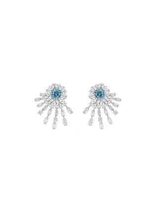 首图 - 点击放大 - SARAH ZHUANG - 钻石点缀18k白金几何造型耳环