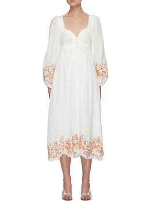 首图 - 点击放大 - ZIMMERMANN - MAE泡泡袖花卉图案亚麻连衣裙