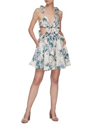 模特儿示范图 - 点击放大 - ZIMMERMANN - CASSIA镂空花边花卉图案亚麻连衣裙镂空花边花卉图案亚麻连衣裙