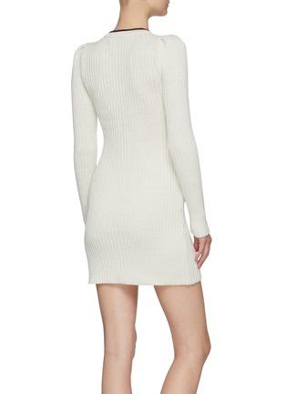 背面 - 点击放大 - SELF-PORTRAIT - 拼色蝴蝶结混棉针织连衣裙