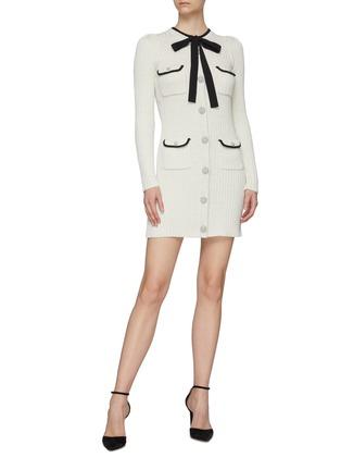 模特儿示范图 - 点击放大 - SELF-PORTRAIT - 拼色蝴蝶结混棉针织连衣裙