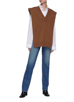 模特儿示范图 - 点击放大 - MAISON MARGIELA - 高腰水洗纯棉牛仔裤