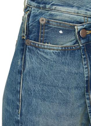 - R13 - CROSSOVER不规则搭叠裤腰直脚卷边牛仔裤