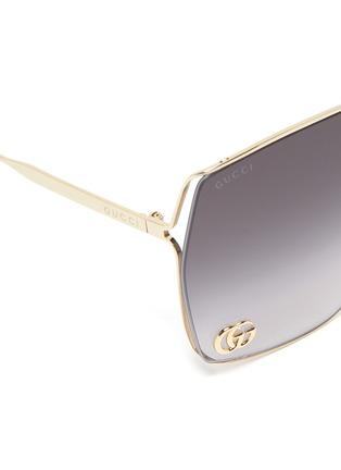 细节 - 点击放大 - GUCCI - 镂空几何造型镜框金属太阳眼镜