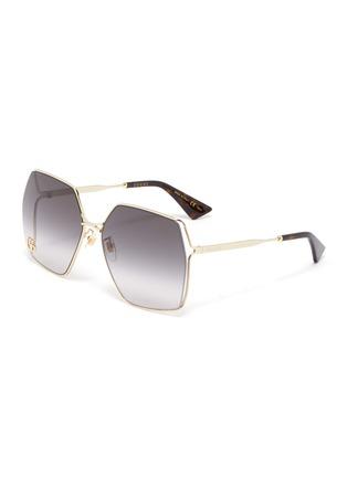 首图 - 点击放大 - GUCCI - 镂空几何造型镜框金属太阳眼镜
