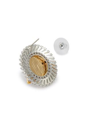 细节 - 点击放大 - VENNA - 仿水晶人造珍珠点缀几何造型金属耳钉