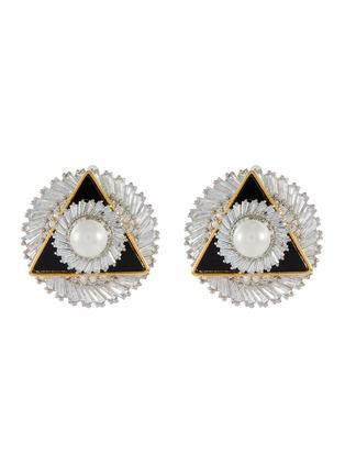 首图 - 点击放大 - VENNA - 仿水晶人造珍珠点缀几何造型金属耳钉